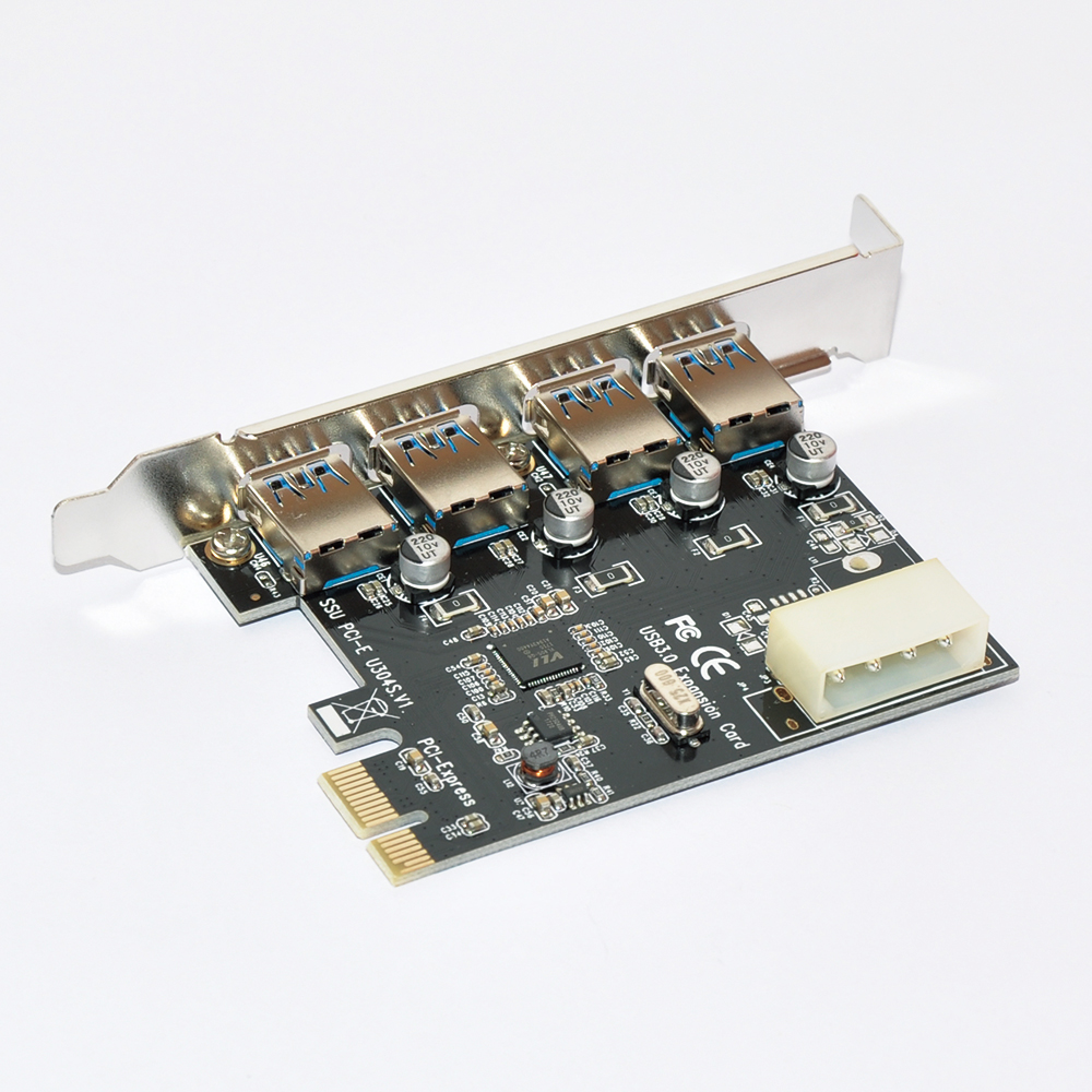 4-Port USB3.0 PCI-E x1 Expansion Card for PC