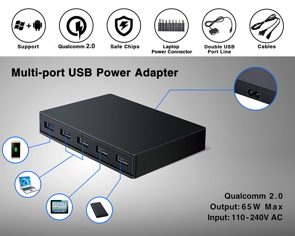 5 ports USB QC2.0 Adapter Can charge Laptop,Tablet,Smart phone at the same time.