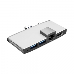 6 in 1 USB Hub Docking with Ethernet And USB Ports For Surface Pro Via USB3.0 & Mini DP Double Interface