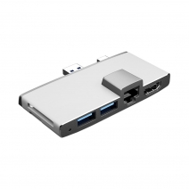 China 6 in 1 USB Hub Docking with Ethernet And USB Ports For Surface Pro Via USB3.0 & Mini DP Double Interface-Fabrik