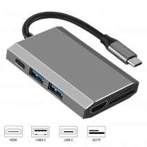 E-Sun 6 in 1 USB C Hub-Docking-Adapter Typ C an 3.0 USB SD TF-Kartenleser 4K UHD HUB Für Laptops